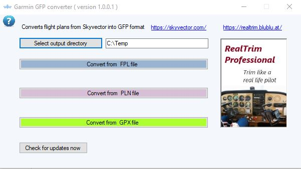 Free Garmin GFP flight plan converter - RealTrim Professional